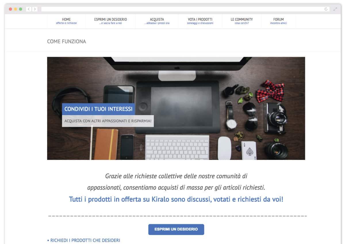 Arriva Kiralo, il sito di Community Commerce