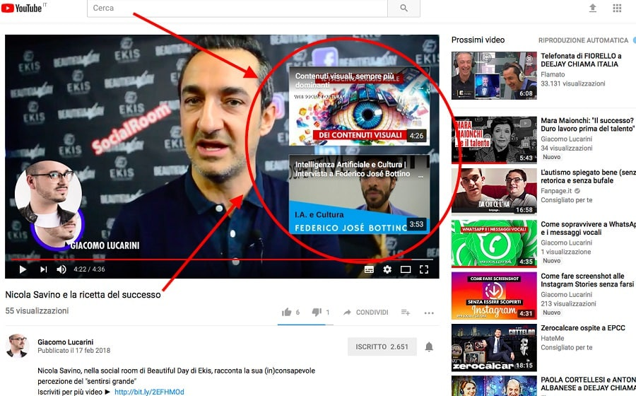 card per canale youtube